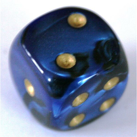 Chessex Gemini Black-Blue/Gold W6 12mm