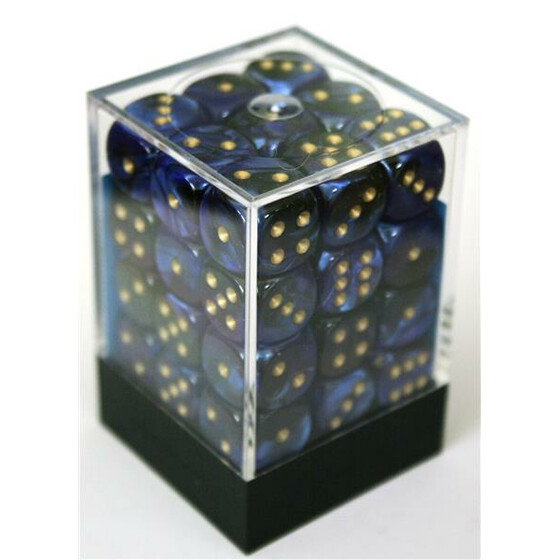 Chessex Gemini Black-Blue/Gold W6 12mm Set