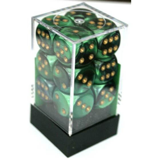 Chessex Gemini Black-Green/Gold W6 16mm Set
