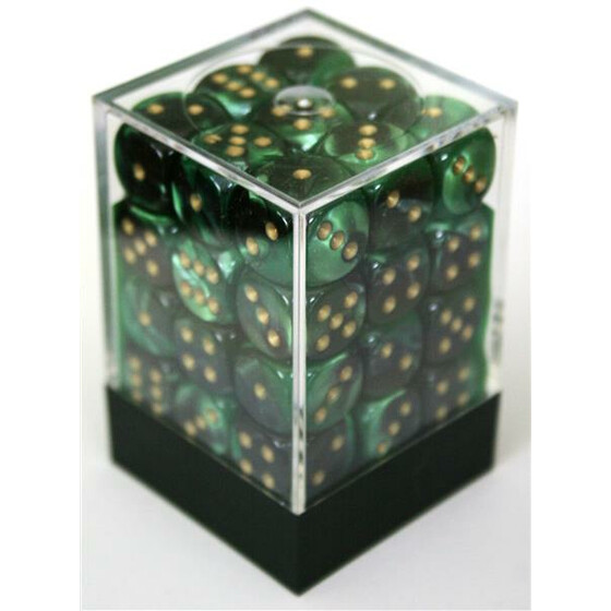 Chessex Gemini Black-Green/Gold W6 12mm Set