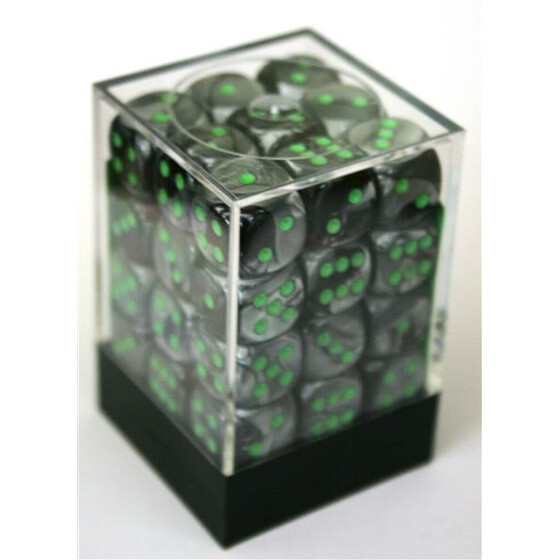 Chessex Gemini Black-Grey/Green D6 12mm Set