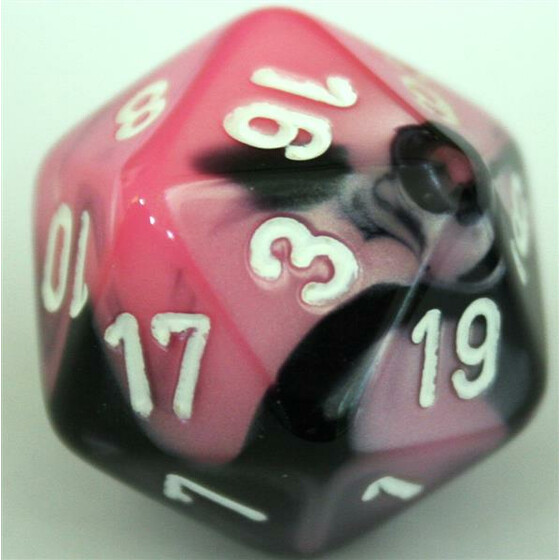 Chessex Gemini Black-Pink/White W20