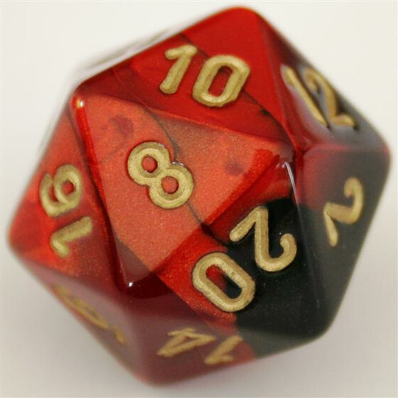 Chessex Gemini Black-Red/Gold W20