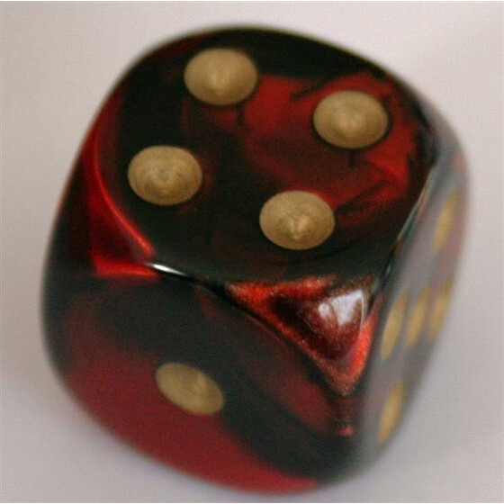 Chessex Gemini Black-Red/Gold W6 16mm