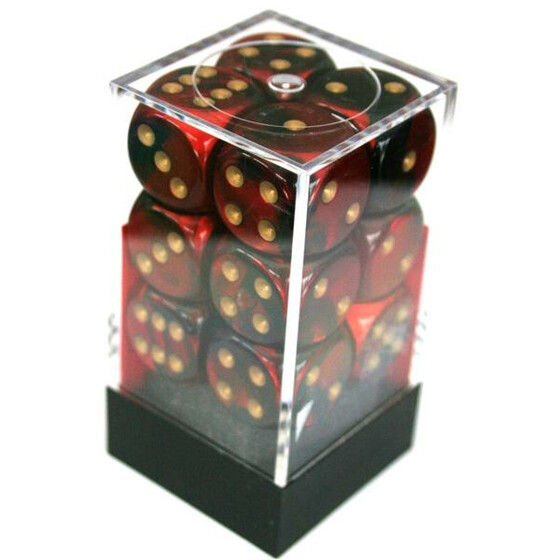 Chessex Gemini Black-Red/Gold W6 16mm Set