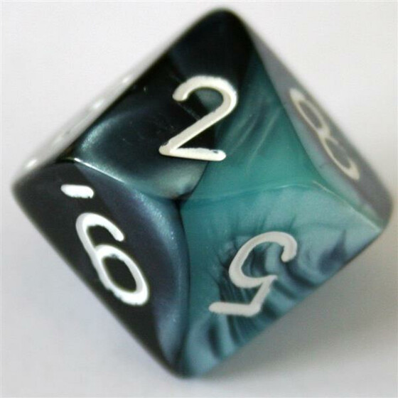 Chessex Gemini Black-Shell/White D10