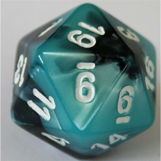 Chessex Gemini Black-Shell/White D20
