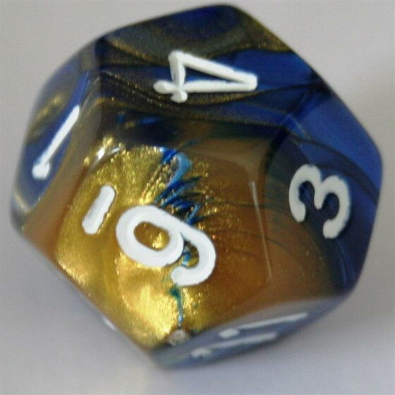 Chessex Gemini Blue-Gold/White W12