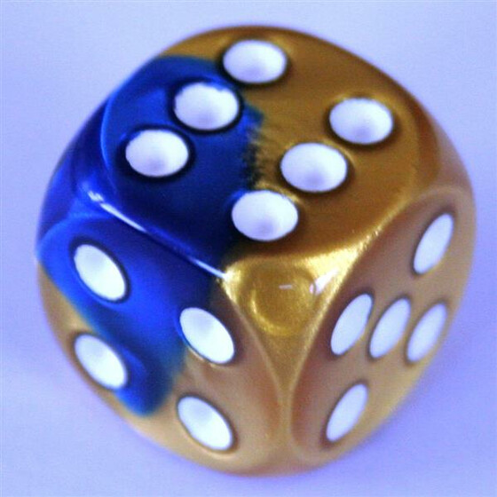 Chessex Gemini Blue-Gold/White W6 16mm