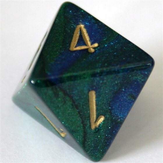 Chessex Gemini Blue-Green/Gold W8