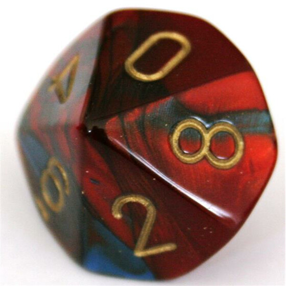 Chessex Gemini Blue-Red/Gold D10