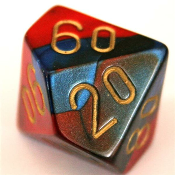 Chessex Gemini Blue-Red/Gold D10%