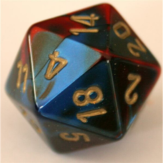 Chessex Gemini Blue-Red/Gold D20