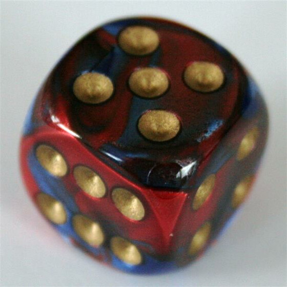 Chessex Gemini Blue-Red/Gold D6 16mm
