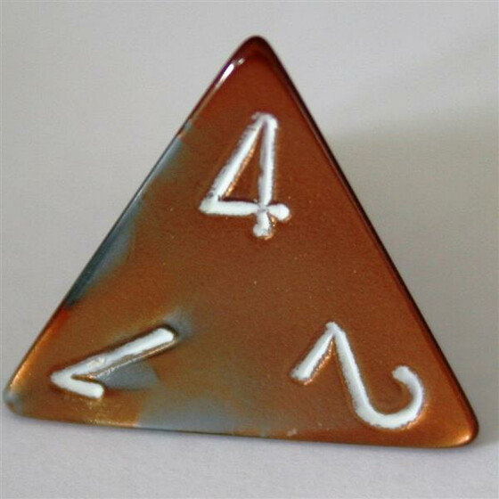 Chessex Gemini Copper-Steel/White D4