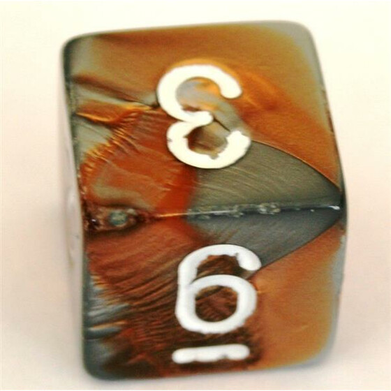 Chessex Gemini Copper-Steel/White D6