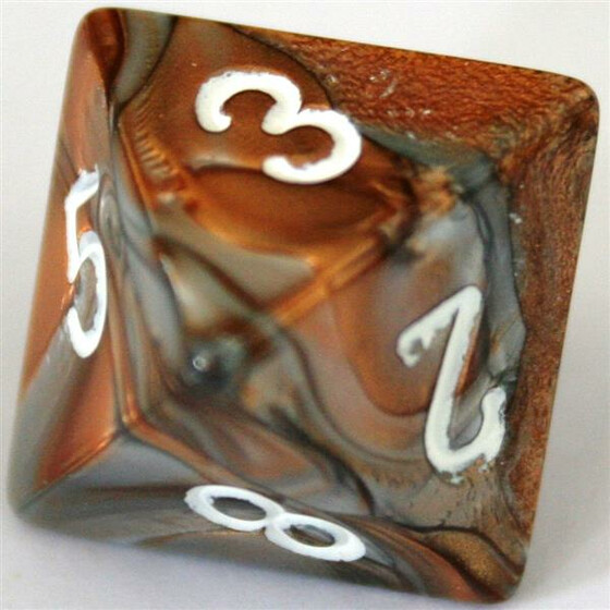 Chessex Gemini Copper-Steel/White D8