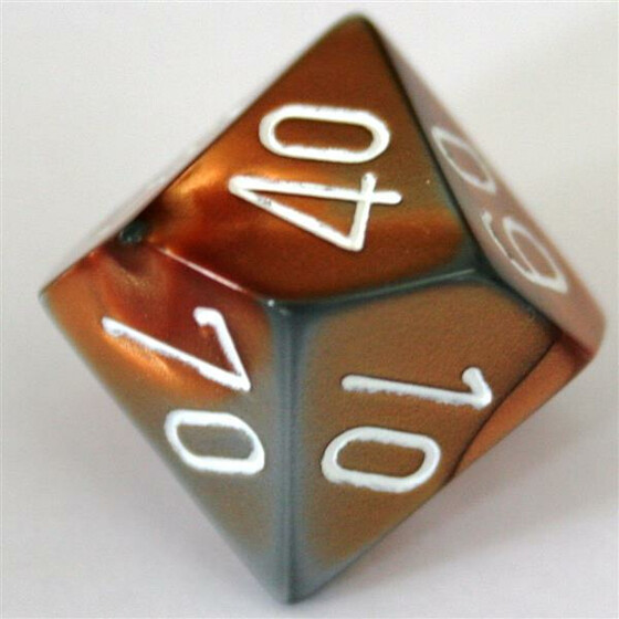 Chessex Gemini Copper-Steel/White D10%