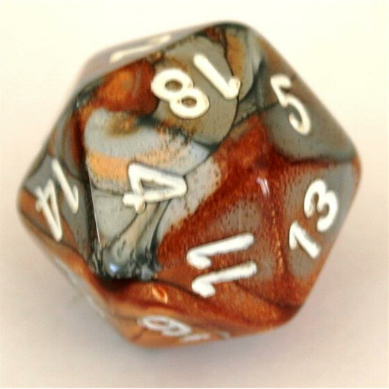 Chessex Gemini Copper-Steel/White D20