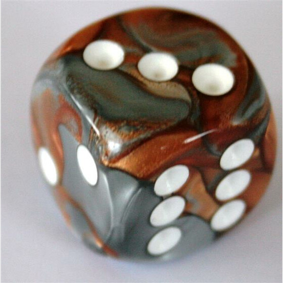 Chessex Gemini Copper-Steel/White D6 16mm