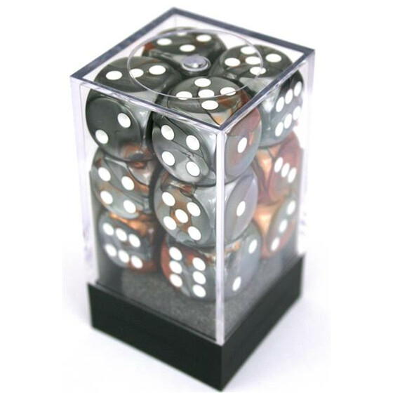 Chessex Gemini Copper-Steel/White D6 16mm Set