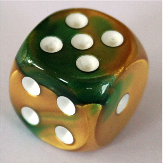 Chessex Gemini Gold-Green/White W6 16mm