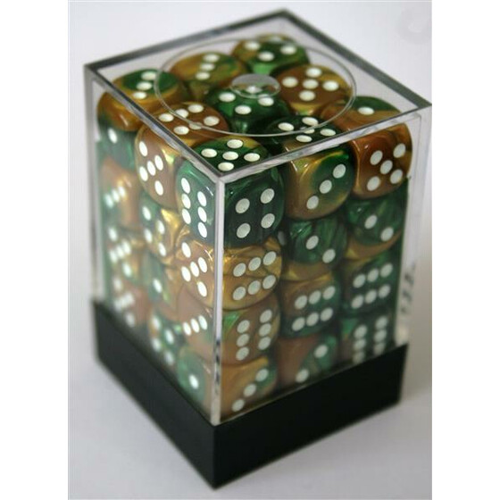 Chessex Gemini Gold-Green/White D6 12mm Set