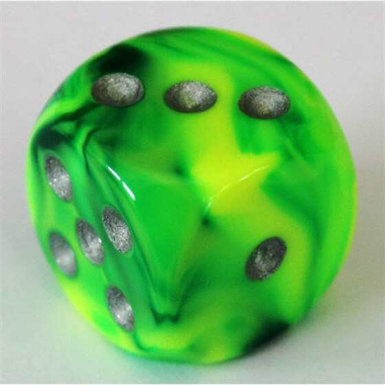 Chessex Gemini Green-Yellow/Silver W6 16mm