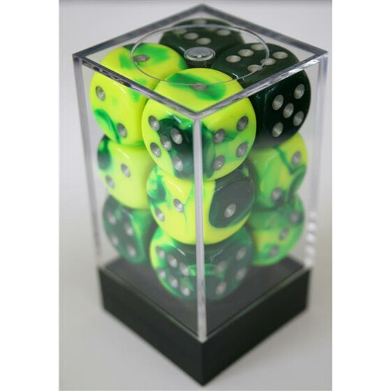 Chessex Gemini Green-Yellow/Silver D6 16mm Set