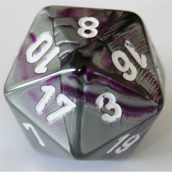 Chessex Gemini Purple-Steel/White D20