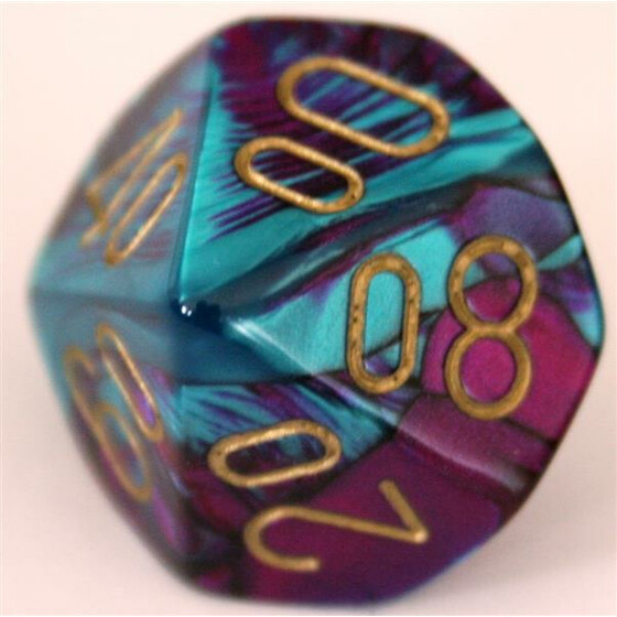 Chessex Gemini Purple-Teal/Gold W10%