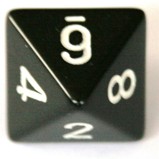 Chessex Opaque Black/White D8