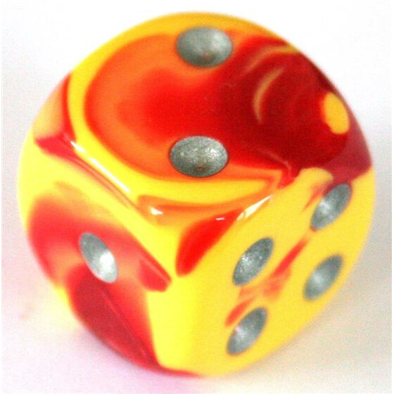 Chessex Gemini Red-Yellow/Silver W6 16mm
