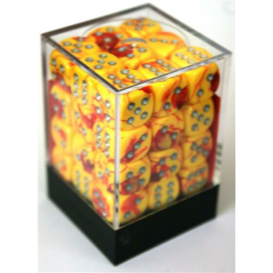 Chessex Gemini Red-Yellow/Silver D6 12mm Set