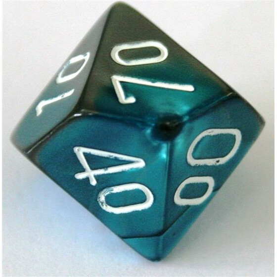 Chessex Gemini Steel-Teal/White D10%