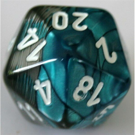 Chessex Gemini Steel-Teal/White D20