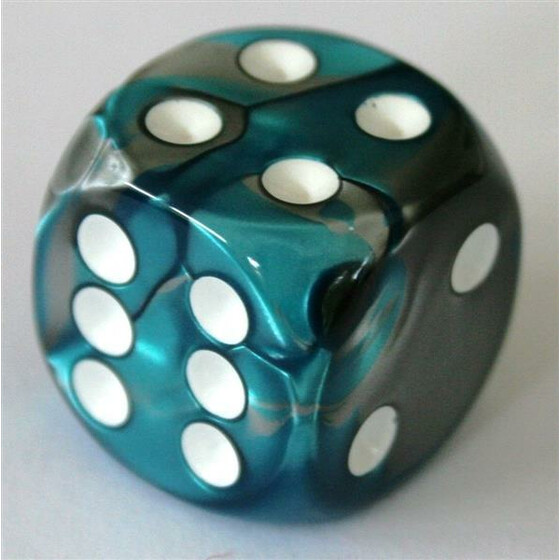 Chessex Gemini Steel-Teal/White D6 16mm