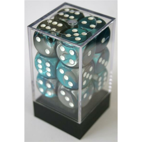 Chessex Gemini Steel-Teal/White W6 16mm Set