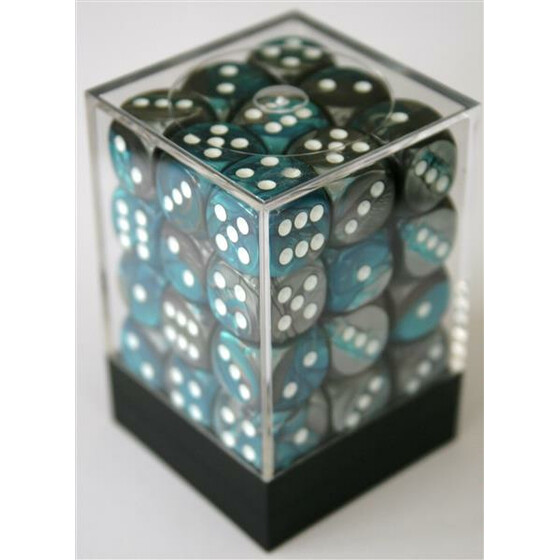 Chessex Gemini Steel-Teal/White W6 12mm Set