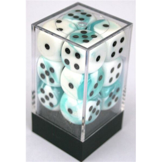 Chessex Gemini Teal-White/Black W6 16mm Set