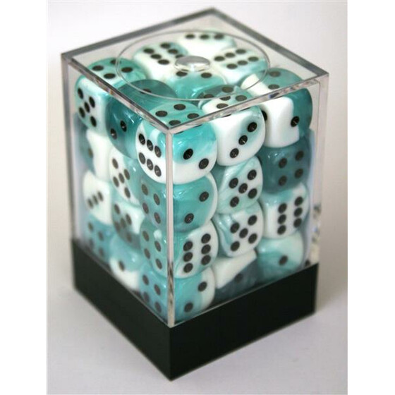 Chessex Gemini Teal-White/Black W6 12mm Set
