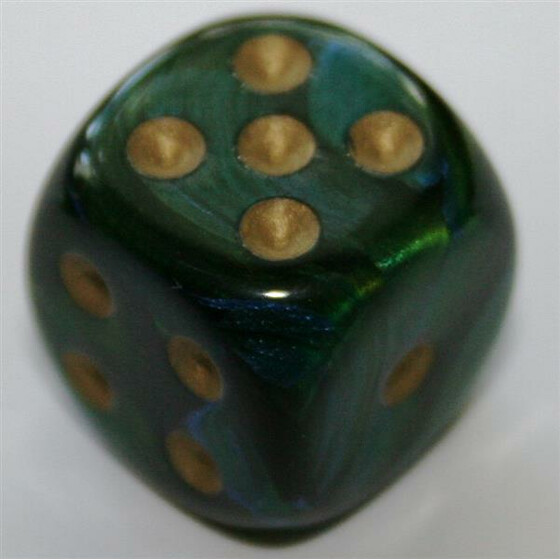Chessex Scarab Jade/Gold W6 16mm