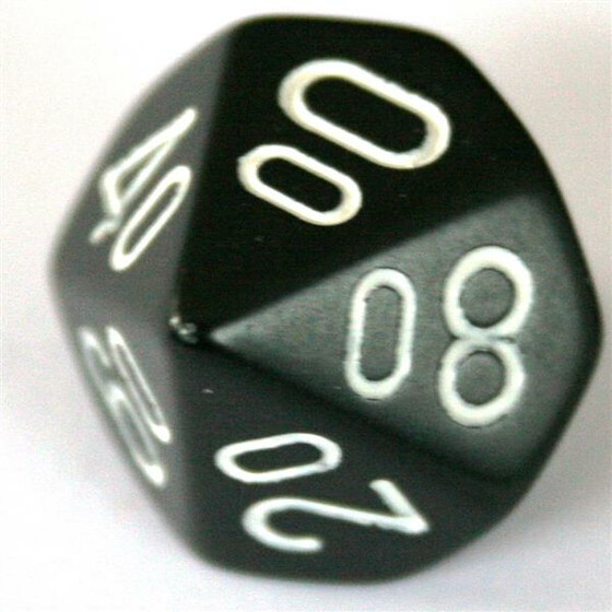 Chessex Opaque Black/White D10%