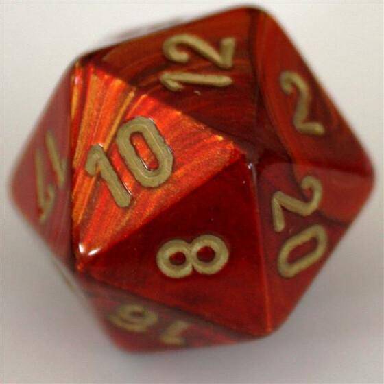 Chessex Scarab Scarlet/Gold D20