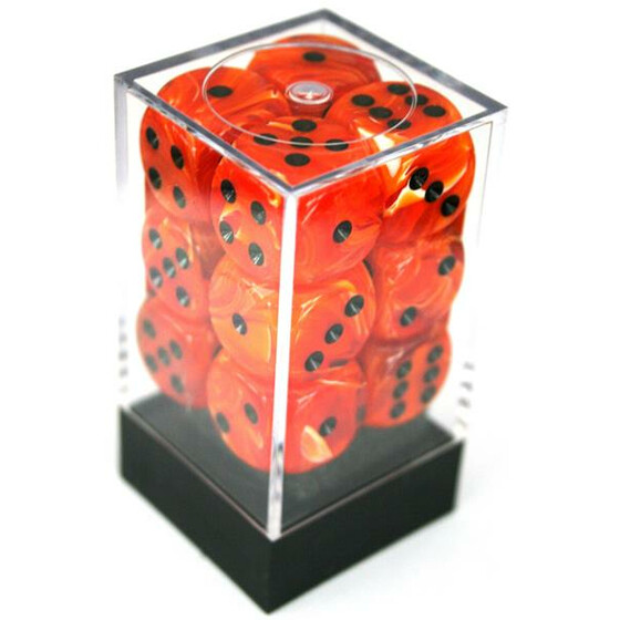 Chessex Vortex Orange/Black W6 16mm Set