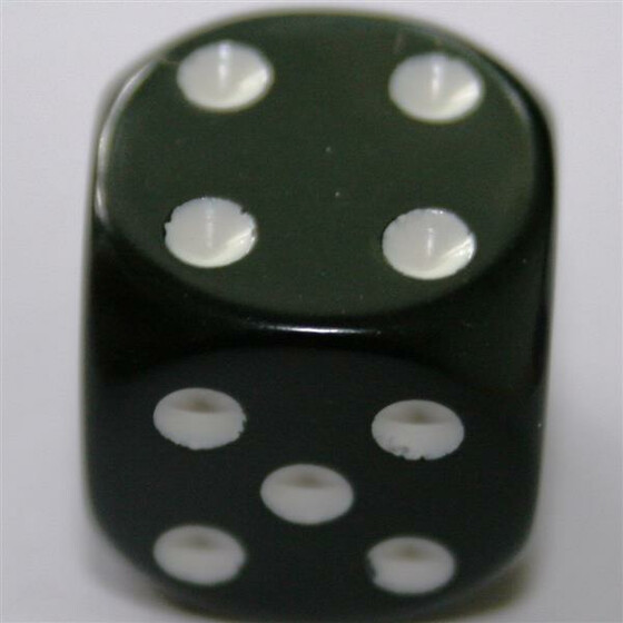 Chessex Opaque Black/White D6 16mm