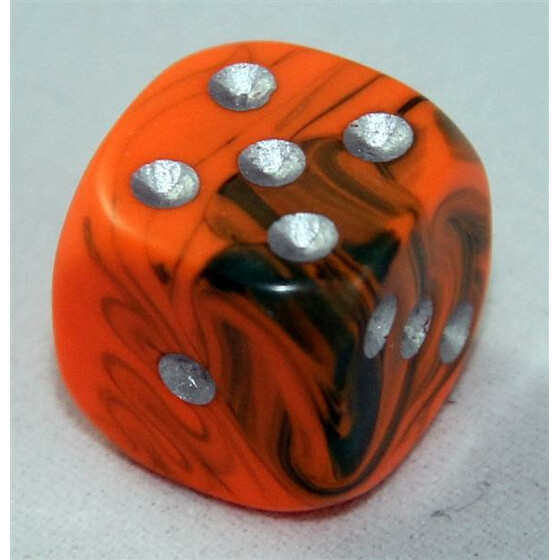 D6 15mm Toxic orange/green