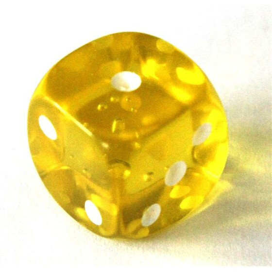 D6 15mm Translucent Yellow
