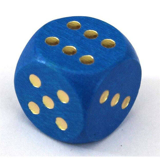 Wood Dice 16mm Blue
