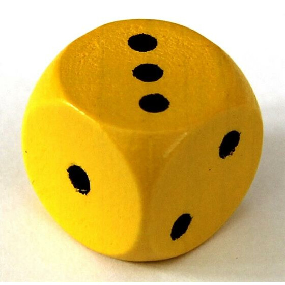 Wood Dice 16mm Yellow